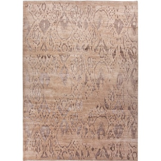 Handmade Tribal Pattern Taupe/ Gray Wool/ Rayon from Bamboo Silk Rug (2 x 3)