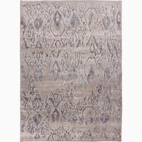 Hand-Knotted Damask Gray/ Silver Area Rug - 2' x 3'