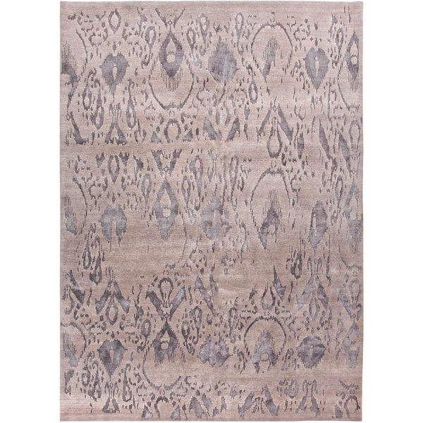 Hand-Knotted Damask Gray/ Silver Area Rug (9' X 12')