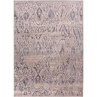 Handmade Tribal Pattern Gray Wool/ Rayon from Bamboo Silk Rug (9 x 12)