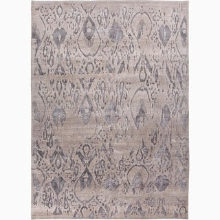 Handmade Tribal Pattern Gray Wool/ Rayon from Bamboo Silk Rug (10 x 14)