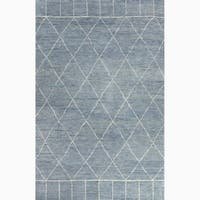 Hand-Knotted Tribal Blue Area Rug - 5' x 8'