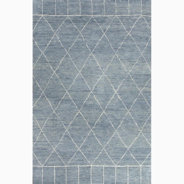 Hand-Knotted Tribal Blue Area Rug (9' X 12') - 9' x 12'