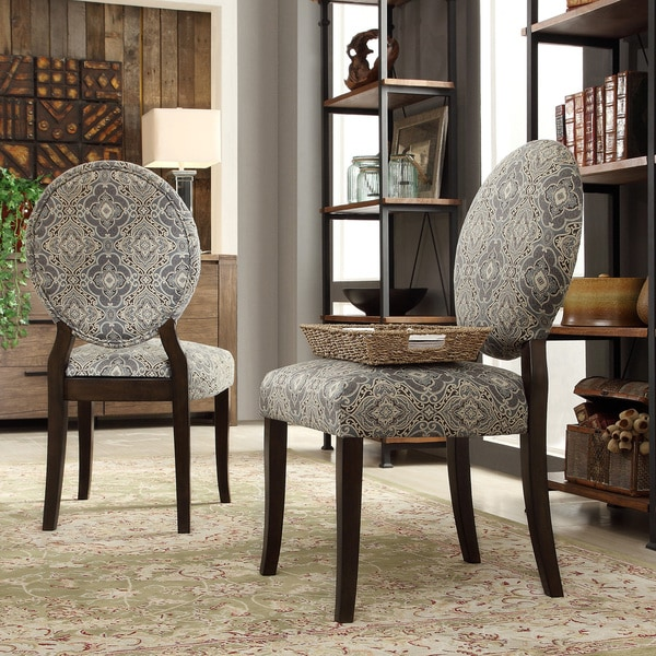 INSPIRE Q Paulina Blue Damask Round Back Dining Chair Set of 2