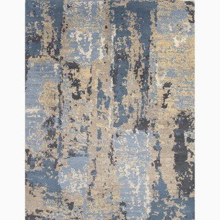 Handmade Abstract Pattern Blue/ Tan Wool Rug (10 x 14)