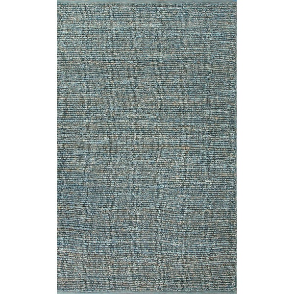 Contemporary Handmade Solid Pattern Blue Jute Rug (2 x 3)