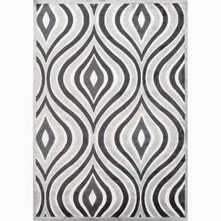 Hand-Made Gray/ Ivory Art Silk/ Chenille Modern Rug (9x12)