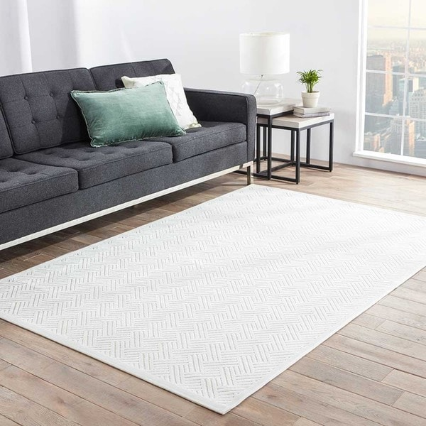 Erlend Geometric White Area Rug - 5 x 7'6