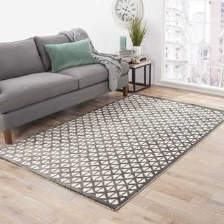 Hand-Made Ivory/ Gray Art Silk/ Chenille Modern Rug (9x12)