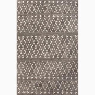 Atlas Handmade Geometric Gray/ White Area Rug (5' X 8') - 5' x 8'