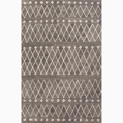 Atlas Handmade Geometric Gray/ White Area Rug (4' X 6') - 4' x 6'