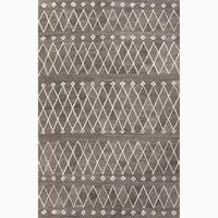 Atlas Handmade Geometric Gray/ White Area Rug (4' X 6') - 4' x 6'