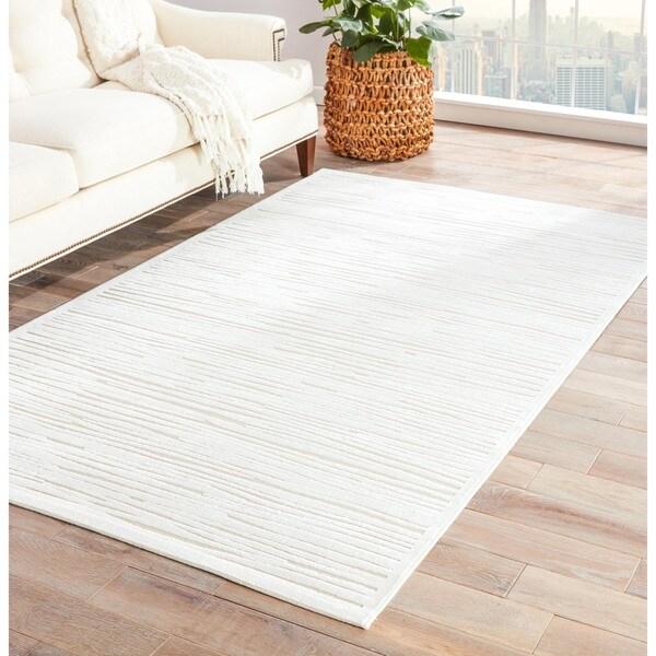 "Sisal Rug Got Wet: Shop Raya Abstract White Area Rug (7'6"" X 9'6"")"