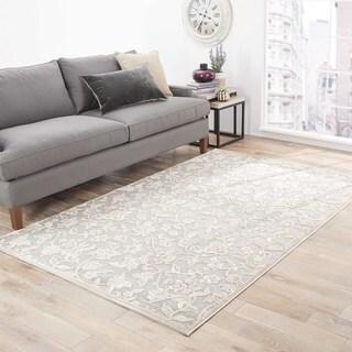 "Verbena Floral Gray/ White Area Rug (5' X 7'6"")"
