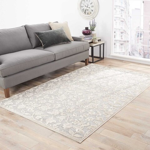 "Copper Grove Rubyrock Floral Grey/ White Area Rug - 7'6""x9'6"""