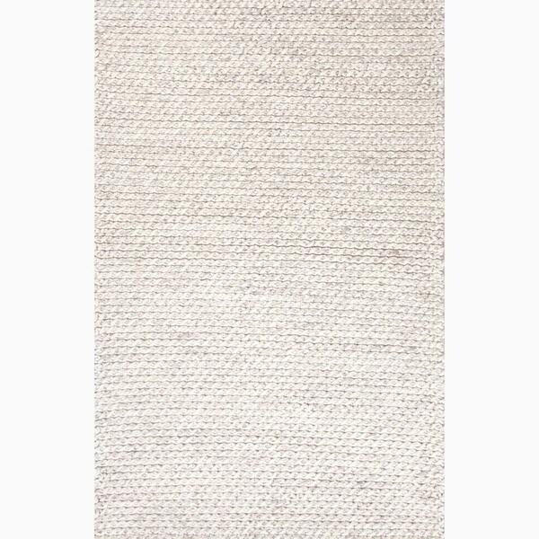 Thurstan Handmade Solid Gray/ White Area Rug (5' X 8') - 5' x 8'