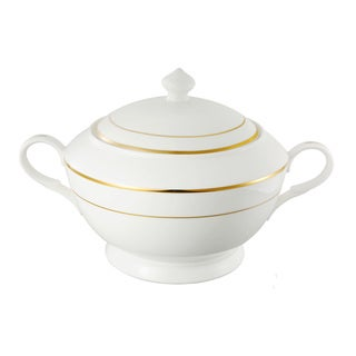 Lorren Home Trends La Luna 24k Gold Tone Bone China Soup Tureen