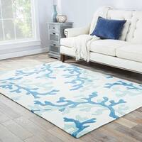Havenside Home Knotts Handmade Abstract White/ Blue Area Rug (9' x 12')
