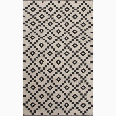 Folke Handmade Geometric Black/ White Area Rug (4' X 6') - 4' x 6'