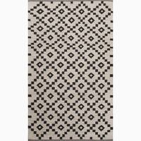 Folke Handmade Geometric Black/ White Area Rug (2' X 3') - 2' x 3'