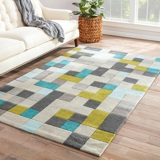 Hand-Made Gray/ Blue Polyester Easy Care Rug (3.6X5.6)