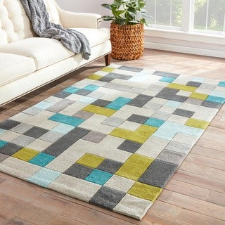 Handmade Gray/ Blue Polyester Easy Care Rug (7'6 x 9'6)