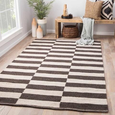 Fransen Handmade Stripe Dark Gray/ Cream Area Rug (5' X 8') - 5'x8'