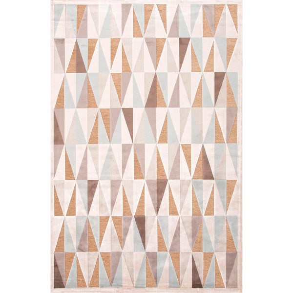 Handmade Ivory/ Taupe Abstract Art Silk/ Chenille Modern Rug (7'6 x 9'6)