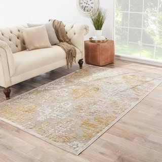 Handmade Floral Pattern Taupe/ Green Chenille Rug (9 x 12)