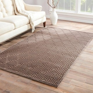 Handmade Geometric Pattern Gray/ Tan Art Silk/ Chenille Rug (2 x 3)