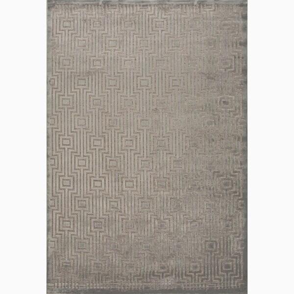 Hand Made Geometric Pattern Gray Tan Art Silk Chenille