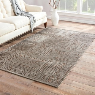 Handmade Gray/ Tan Art Silk/ Chenille Modern Rug (5 x 7'6)