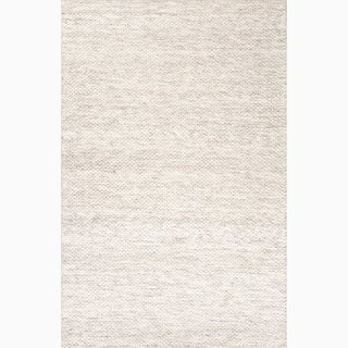 Daven Handmade Solid Taupe/ White Area Rug (5' X 8') - 5' x 8'