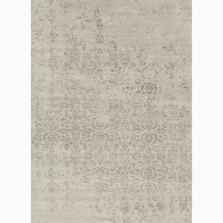 "Hand-Knotted Abstract White Area Rug (9'6"" X 13'6"")"