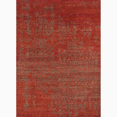 Hand-Knotted Abstract Red Area Rug (2' X 3') - 2' x 3'