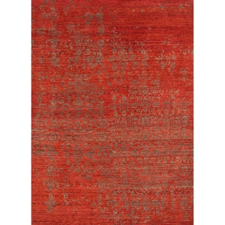 Hand-Knotted Abstract Red Area Rug (5' X 8') - 5' x 8'
