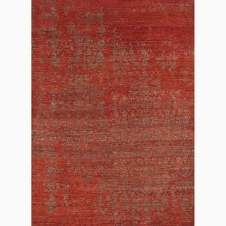 Handmade Abstract Pattern Red/ Brown Wool Rug (9'6 x 13'6)