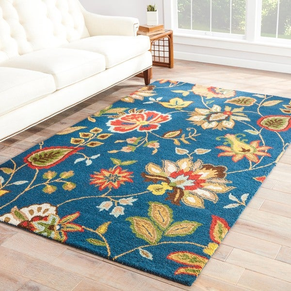 Hand-Made Blue/ Multi Wool Looped Pile Rug (2.6x8)