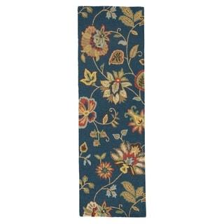 "Dahlia Handmade Floral Blue/ Multicolor Area Rug (2'6"" X 8')"
