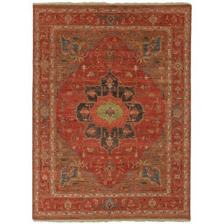 Handmade Oriental Pattern Red/ Blue Wool Rug (2 x 3)