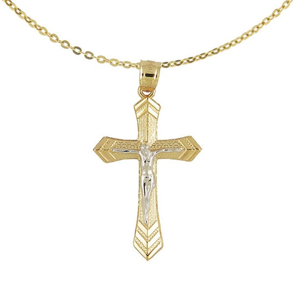 75b2934f0d6829 Shop 14k Two-tone Gold Cross with Jesus Pendant Necklace - Yellow ...