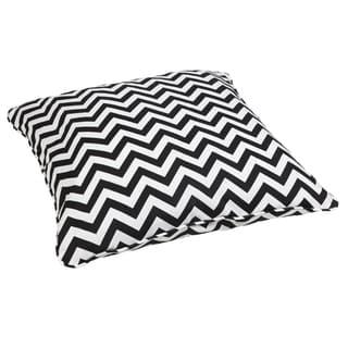 Black Chevron Corded Outdoor/ Indoor Large 26-inch Floor Pillow