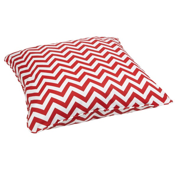Red Chevron Corded Outdoor/ Indoor Large 26-inch Floor Pillow - Free Shipping Today - Overstock ...