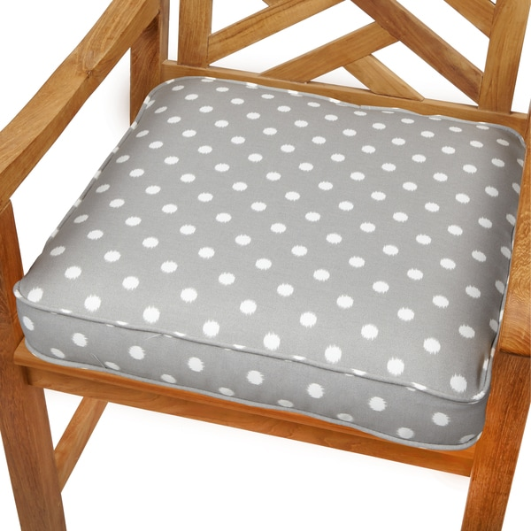 Grey dots 20 inch indoor outdoor corded chair cushion for Home goods patio furniture cushions