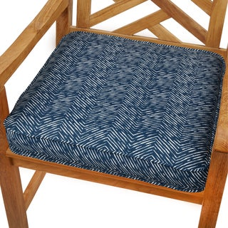 Navy Herringbone 19-inch Indoor/ Outdoor Corded Chair Cushion