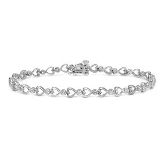 Auriya 14k White Gold 1/4ct TDW Heart Diamond Bracelet (H-I, I2-I3)