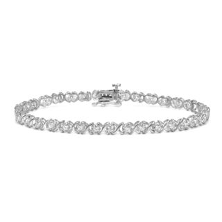Auriya 14k White Gold 1ct TDW Round Diamond X Design Bracelet (H-I, I2-I3)