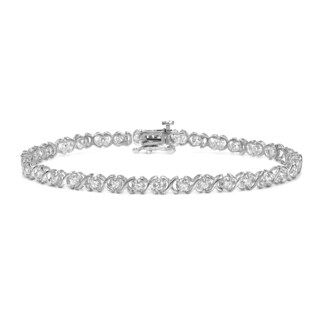 Auriya 14k White Gold 1ct TDW XO Diamond Link Tennis Bracelet