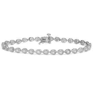 Auriya 14k White Gold 2/5ct TDW Round Diamond Bracelet (H-I, I2-I3)