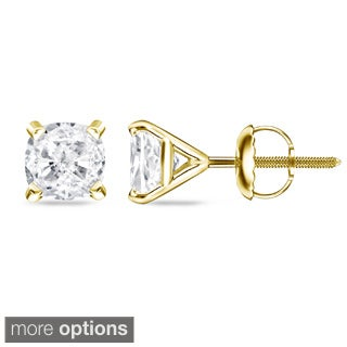 Auriya 14k/18k Gold or Platinum 1/2ct TDW 4Prong-Martini Cushion Diamond Stud Earrings (H-I, SI1-SI2)
